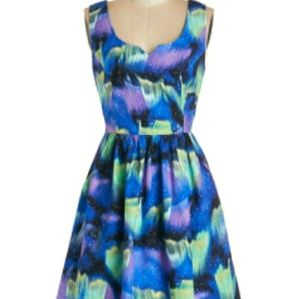 Modcloth Night Bright Dress Sweetheart Neck Mini ☄
